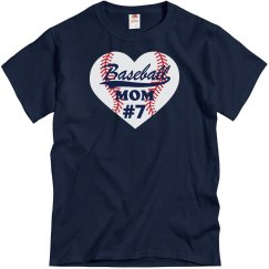 Baseball Mom Heart with number