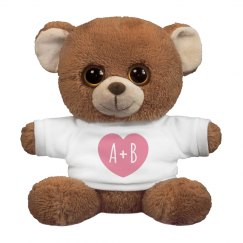 Custom Initials Romantic Teddy Bear