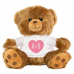 Custom Initials Romantic Teddy Bear