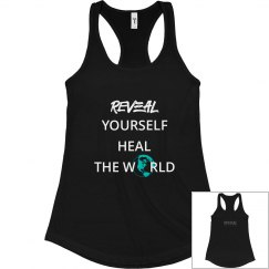 REVEAL Yourself Slim Fit Tank - White/Turquoise