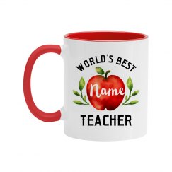 Custom Name Best Teacher Watercolor