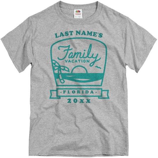 c780b5c2b Custom Last Name Family Vacation Unisex Basic Promo T-Shirt