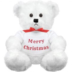 Merry Christmas - Small White Teddy Bear - Red & White