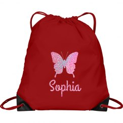 Personalized Drawstring Bag with Butterfly