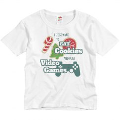 I Just Want To  Eat Cookies And Play Video Games Tee