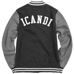 Ladies Icandi fleece letterman jacket