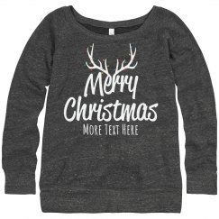 Custom Text Lady's Merry Christmas Sweater