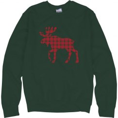Plaid Moose Sweater Christmas