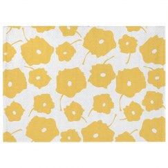 Yellow Poppy Print Boho Rug