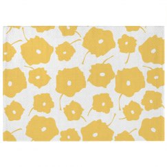 Yellow Poppy Print Boho Rug