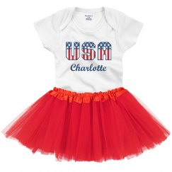 USA Custom Name July 4th Outfit