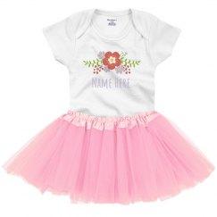 Custom Name Baby With Trendy Flower