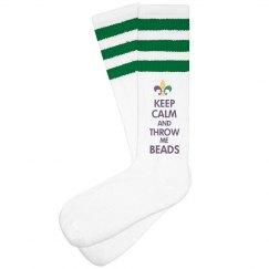 Keep Calm And Throw Beads Socks