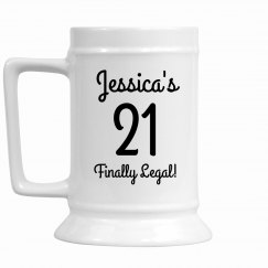 Custom 21st Birthday Beer Stein