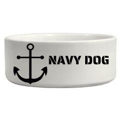 navy dog bowl
