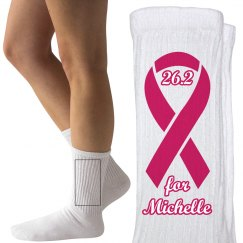 Breast Cancer Marathon Socks With Custom Name