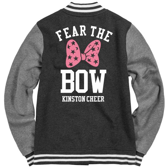 b21892ec8f Fear the Cheer Bow Ladies Fleece Letterman Varsity Jacket