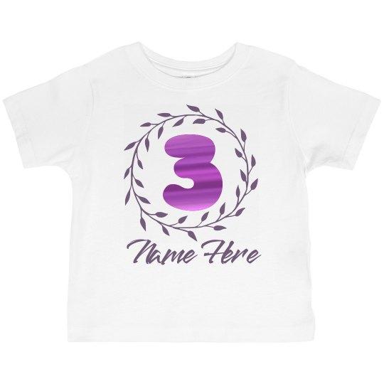 3rd Metallic Birthday Toddler Basic Promo Jersey T Shirt