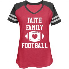 Faith Family Football uppercase t-shirt