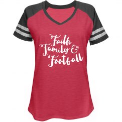 Faith Family Football Scripted Tee