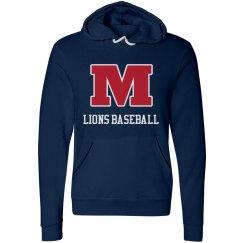 Lions Baseball Navy Hoodie Block M