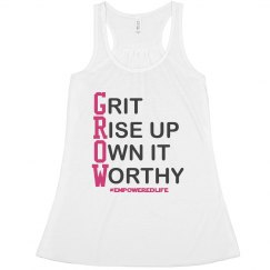 GROW pink lettering