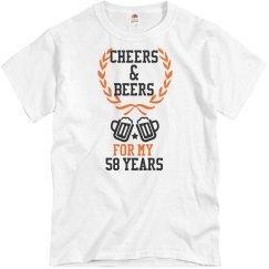 White birthday tee w/black & orange verbiage