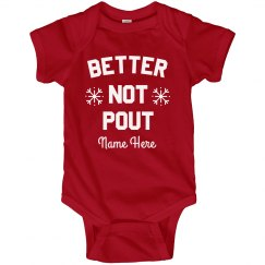 Better Not Pout! Cute Custom Baby Christmas Bodysuit