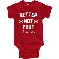 Better Not Pout! Cute Custom Baby Christmas Bodysuit