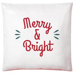 Merry & Bright Holiday Red Sequined Pillow Case