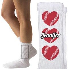 Custom Softball or Baseball Socks with Name