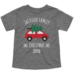 Family Christmas Custom Toddler Tee Xmas Car & Tree