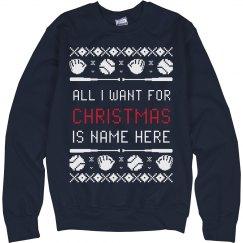 Custom Baseball Ugly Xmas Sweater