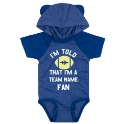 Custom Text & Art Baby Bodysuit Sports Fan