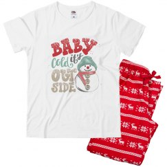 Snowman Baby it's cold outside pajamas for youth