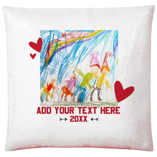 Add Your Kids Art Valentine Pillow