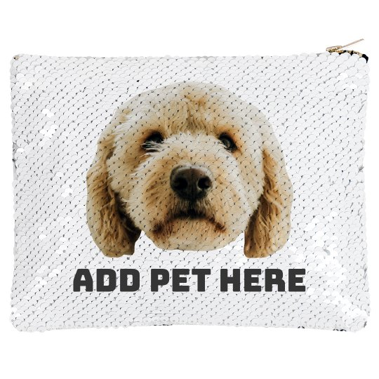 Add Your Pet Photo Sequin Bag