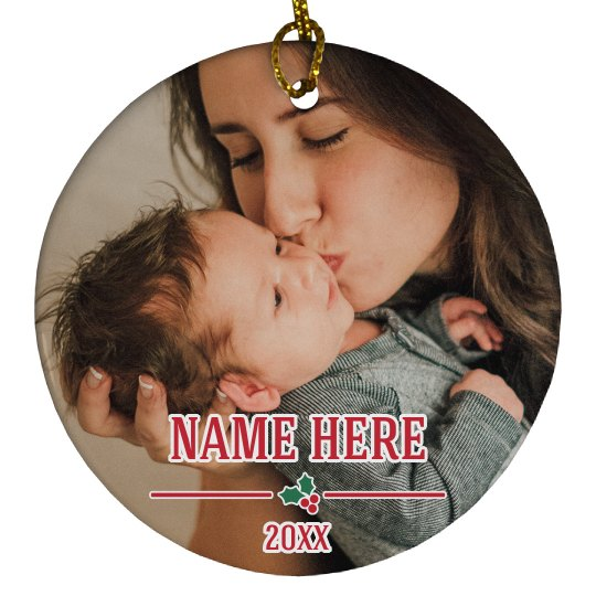 Add Your Photo Custom Baby Name Ornament