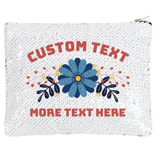 Add Your Text Flower Sequin Bag