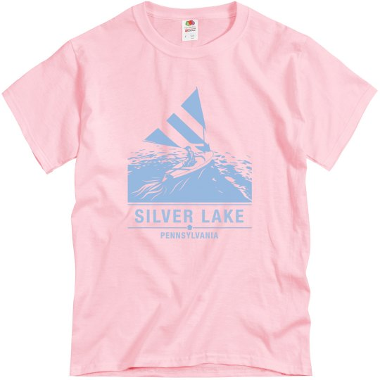 Adult unisex Hanes cotton tee with blue sailboat logo