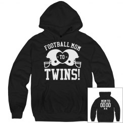 Proud Football Mom to Football Twins Custom Fleece Hood