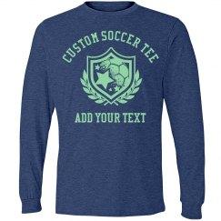 Custom-Made Your Text Long Sleeve Soccer T-Shirt