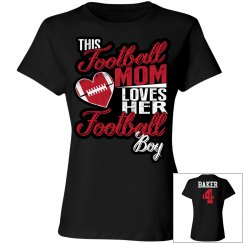 Football mom - loves her football boy - name and #