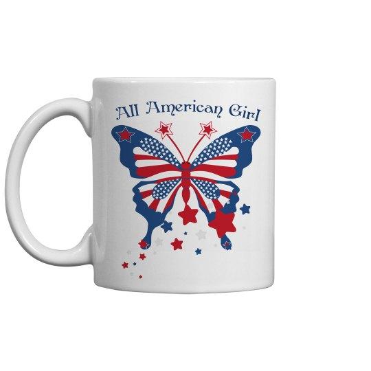 All American Girl Butterfly Mug