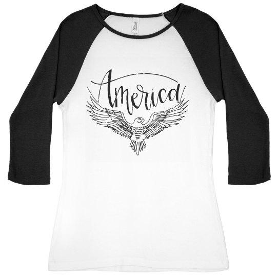 America | Women's Raglan Tee