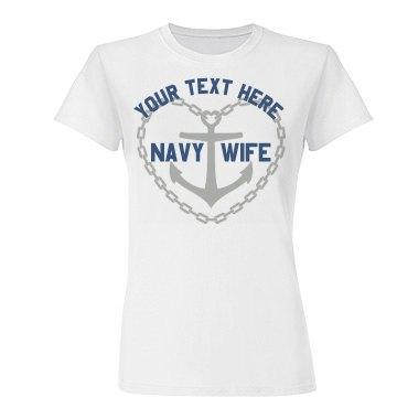 Anchor Heart Navy Wife