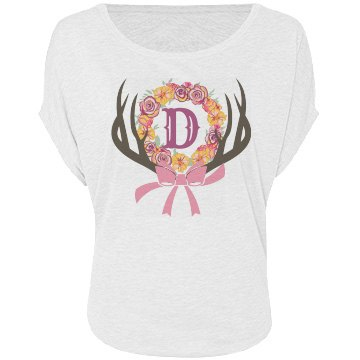 Antler and flowers monogram