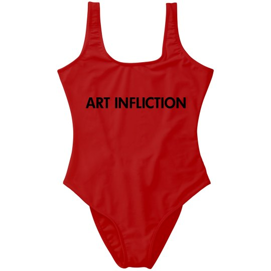 Art Infliction One-Piece Swimsuit, Red