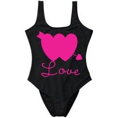Neon Pink Double Hearts w/Arrow Love