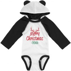 Custom Date Merry Christmas Long Sleeve Bodysuit
